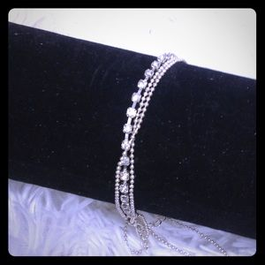 Triple layer silver chains & rhinestone anklet